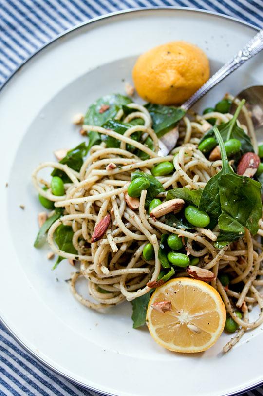 Pesto Pasta with Lemon, Spinach, Edamame & Toasted Almonds ...